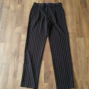 Ralph Lauren Wool Pin Striped Black Pants 14P